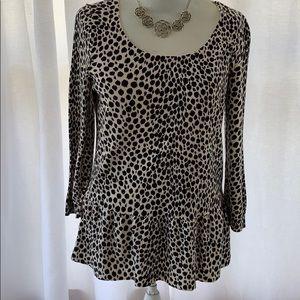 Ann Taylor Black/White leopard top